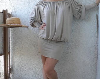 Sale off shoulder mini dres tunic cotton viscose jersey