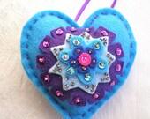 "Heart, Blue, Christmas Decoration, Purple,  Pin Cushion, Handmade, Felt, Sequins,  4"" x 4"""