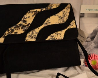 Suede Vintage Purse with Animal Prints Gothic Steampunk