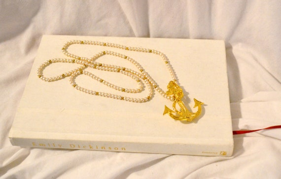Anchor Vintage Pin and Pearl Necklace