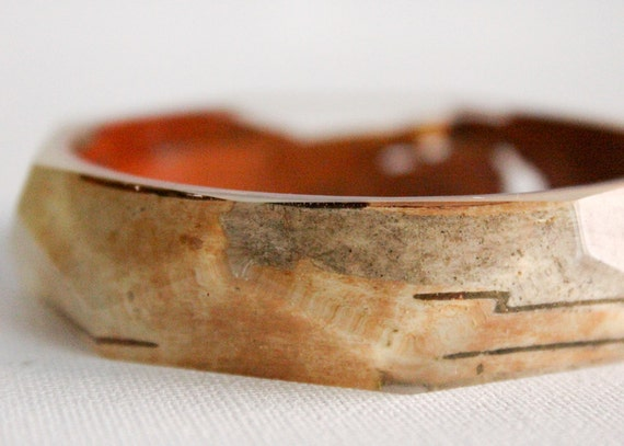 Birch bark eco resin bangle with polygon facets