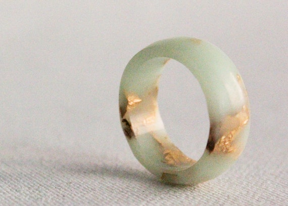 mint gold size 6 round resin eco resin ring