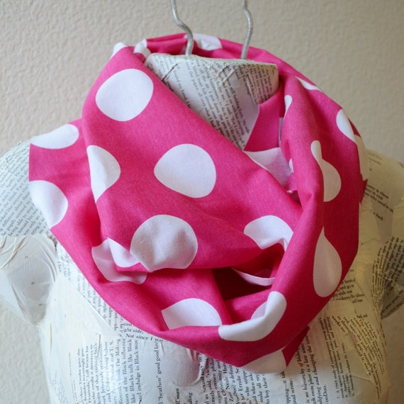 Fuchsia with Big White Polka Dots Infinity Scarf from Jersey Knit