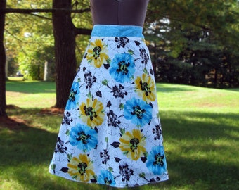 Wrap Skirt Reversible Bright Flowers with Turquoise