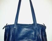 Vintage Blue Leather Rectangular Tote Bag