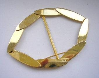 Vintage gold tone metal extra large belt bukle