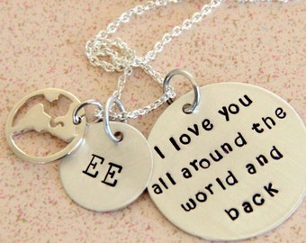 I love you Necklace, Necklace Aunt, World, I love you around the World and Back, Love Quote, Gift For Your Bride, World Charm,  Love quote,
