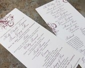 Sophisticated, Elegant Scrol Wedding Program. Vines wedding program. Sophisticated style wedding program