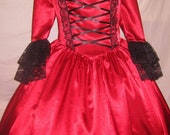 Victorian Ball Gown in Christmas red. All sizes available.