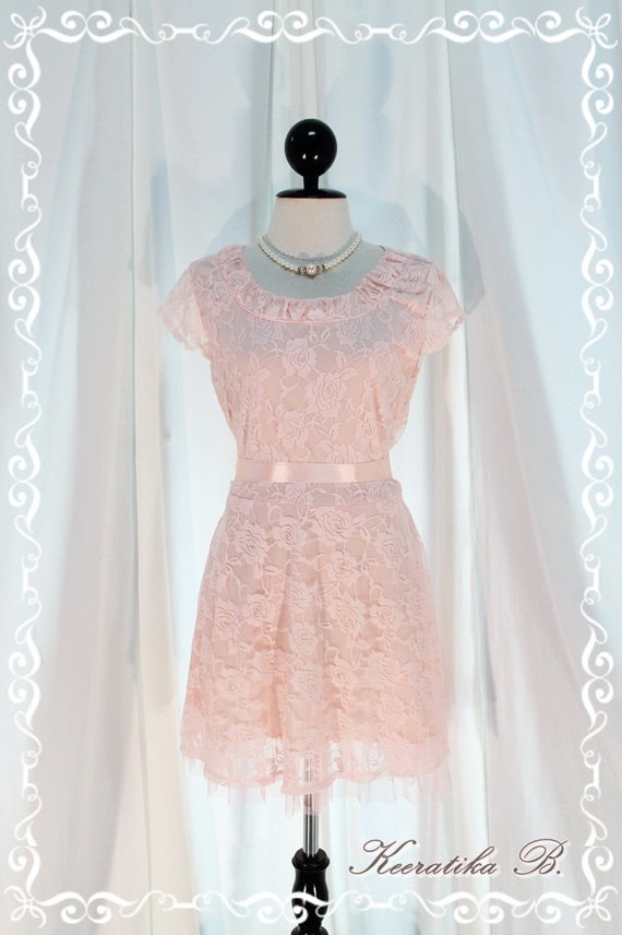 Lady In Tokyo - Lace Version Light Pink Elastic Delicate Roses Lace Cap Sleeve Wedding Dinner Party Cocktail Bridesmaid Dress