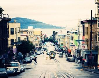 San Francisco Photo - Fine Art Photography, California, Travel Photography, Powell Street, Cable Car, Teal, Blue, Green, landscape, rain