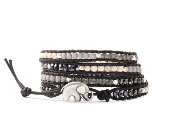 the lucky elephant Black and White Leather Wrap Bracelet with GOOD LUCK ELEPHANT Button Closure