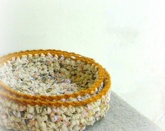 Crocheted nesting bowls - set of two baskets - recycled cotton yarn yellow with mustard trim