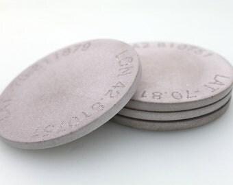 Concrete Coasters. Engraved Concrete Coasters. Longitude + Latitude Coasters.