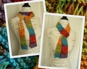 Colorful Gems Knit Scarf - Handmade - Ready to Ship