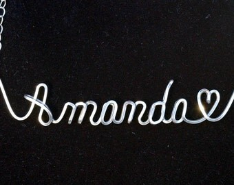 Name Necklace with Heart in Sterling Silver wire