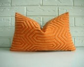 Throw Pillow Cover - Small Decorative Cushion - Orange Cut Velvet with Geometric Pattern - Moroccan Modern Minimalist 10 x 16