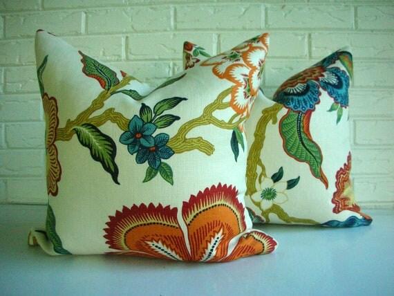 PAIR Decorative Pillow Covers - Celerie Kemble Hot House Flowers Schumacher Spark - Cream Orange Cobalt Blue Green - Modern Fall Colors