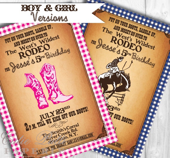 Western Invitations, Printable Custom Invitations by Cutie Putti Paperie