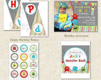 Monster - DIY Printable Personalized Birthday Party Package Party Pack Invitations
