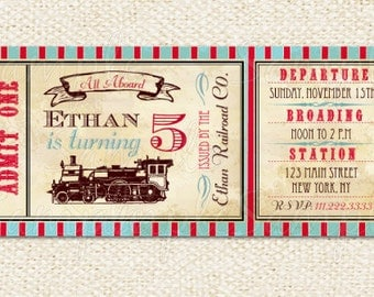 Train Ticket Invitations, Train birthday invitations