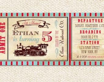 Train Ticket Invitations, Train birthday invitations