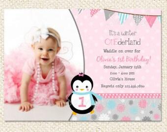 Winter ONEderland Penguin Birthday Invitations