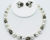 Vintage Faux Pearl Necklace and Earrings Set