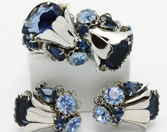 Vintage Big Little Blue and Silver Bracelet and Earrings.