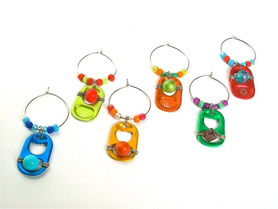 Soda Tab Wine Charms - set of 6 - red, blue, green, lime, orange, yellow - eco-friendly/upcycled/recycled gifts - under 20 dollars