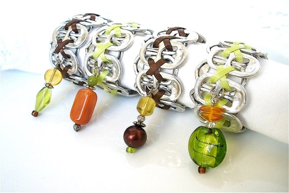 Beaded Pop Tab Napkin Rings - Thanksgiving - autumn - green and brown - set of 4 - upcycled/recycled/eco-friendly - gifts under 20.00