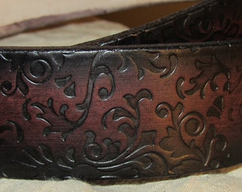 Customizable 1 1/2 inch, Filigree Design Leather Work or Casual Belt