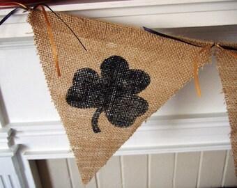 Notre Dame - Shamrock Banner - Fighting Irish - Burlap Banner