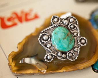 Huge 1960's Tribal Fox Mine Turquoise Ring...handmade