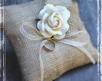 Rustic Weddings - Burlap Ring Bearer Pillow - Personalized Spring Summer Fall Winter - Country Charm - Shabby Chic Wedding - Country Chic
