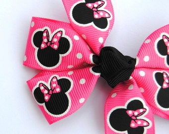 Hot Pink Polka Dot Minnie Mouse Hair Bow
