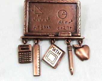 Vintage Copper Algebra , Math Brooch Signed JJ, Math Brooch, Articulated brooch