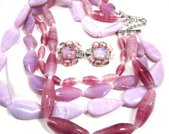 Vintage 70's Huge Chunky Glass Bead Necklace Demi Parure Multi 4 Strand Pink Art Glass Beads, Bolo, Chic