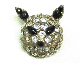 Vintage Figural Cat head Brooch Pin, Pave Black and Clear Rhinestones