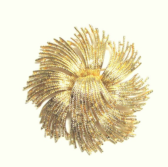 Vintage Monet Fringe Brooch Textured  Brooch