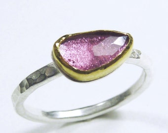 Rose cut Pink Tourmaline Ring with 24 Karat Gold Bezel and Sterling Silver Band