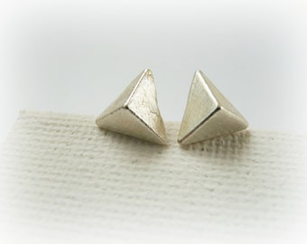Triangle Pyramid Stud Earrings in Sterling Silver - Small Triangle Studs
