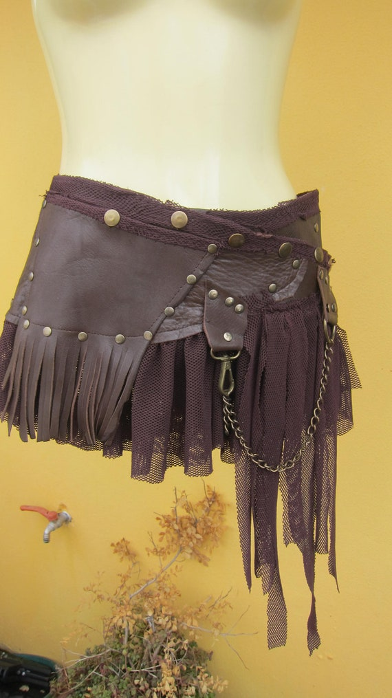 BURNING MAN...leather mini skirt belt/tutu with lace and stud detail....4 day EXPRESS 30 dollars