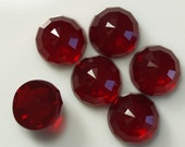 6 pcs 8 mm Garnet Red Faceted high dome 4,7 mm Glass Round Cabochon  80CB