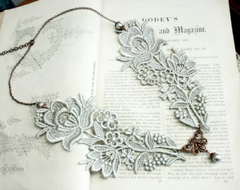 lace peter pan collar necklace -ABIGAIL- pale grey - ivory - ecru - blush - black
