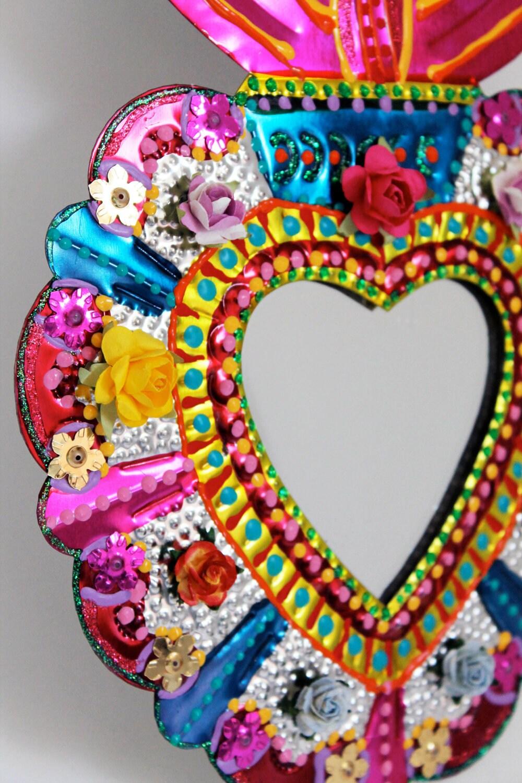 Sacred Heart Tin Metal Mirror Mexican Folk Art Bright