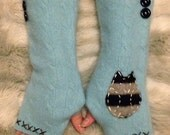 CUSTOM ORDER FOR Debbie Angelo - Teal Blue Brown Striped Owl Cable Knit Felted Angora & Wool Fingerless Gloves