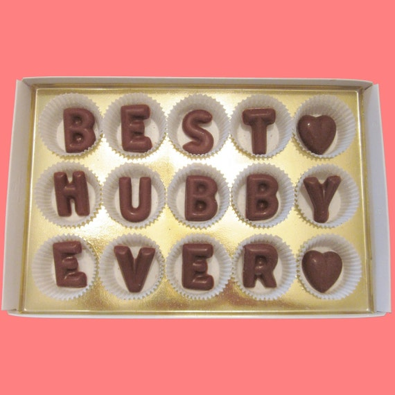 Valentines Day Gift for Husband Anniversary Gift Awesome Handsome Best Hubby Ever Large Milk Chocolate Letters Unique Cool Creative Way