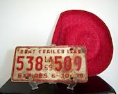 Vintage Metal License Plate Louisiana Boat Trailer 1969