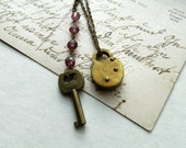 Lock and Key  Necklace Brass Vintage Repurposed  One of A Kind